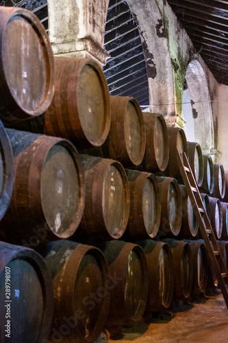 Obraz na plátně Production of fortified jerez, xeres, sherry wines in old oak barrels in sherry