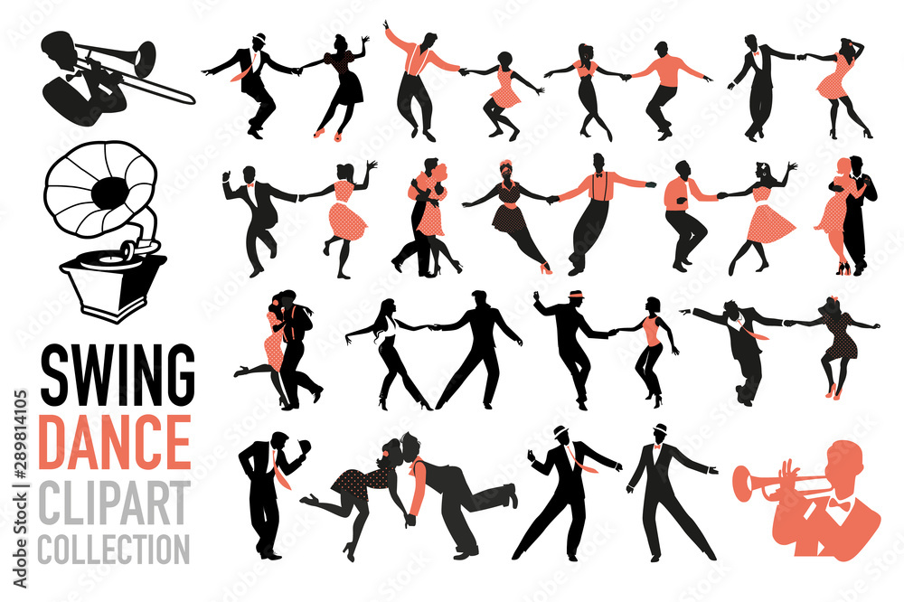 Swing dance clipart collection. Set of swing dancers isolated on white background. <span>plik: #289814105 | autor: LaInspiratriz</span>