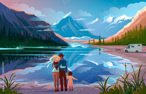 Fényképezés Happy family standing near lake looking away Family vacation travel, holiday cam