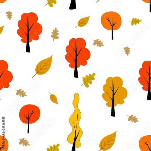 Naklejka na szafę - Jesienny wzór w skandynawskim stylu