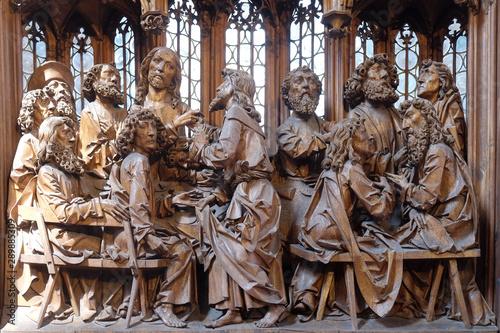 Slika na platnu Last Supper, altar of the Holy Blood in St James Church in Rothenburg ob der Tau