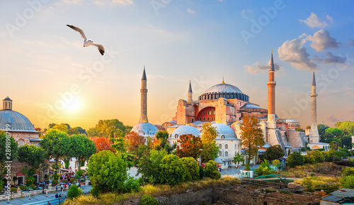Canvas-taulu Famous Hagia Sophia in the evening sun rays, Istanbul, Turkey