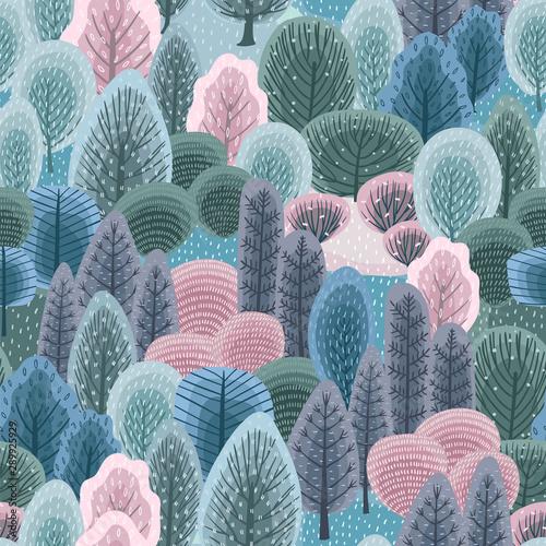Plakat z abstrakcyjnym wzorem zimowego lasu