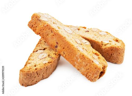 Slika na platnu heap of cantuccini cookies on white background