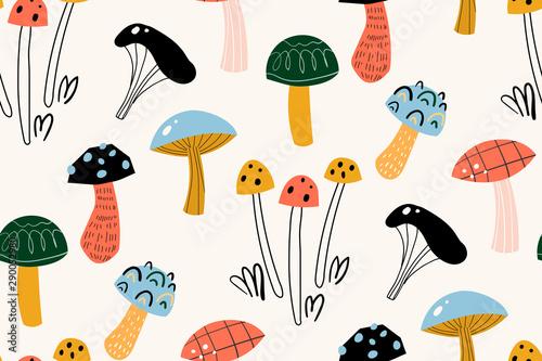 Seamless pattern with decorative mushrooms in the Scandinavian style Fototapeta