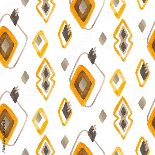 Fototapeta Seamless rhombuses pattern in scandinavian or folk style using yellow, brown and gray colors
