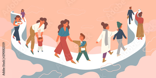 Canvas Print Mother letting go growing child vector illustration