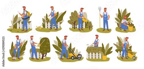 Valokuvatapetti Gardener working flat vector illustrations set