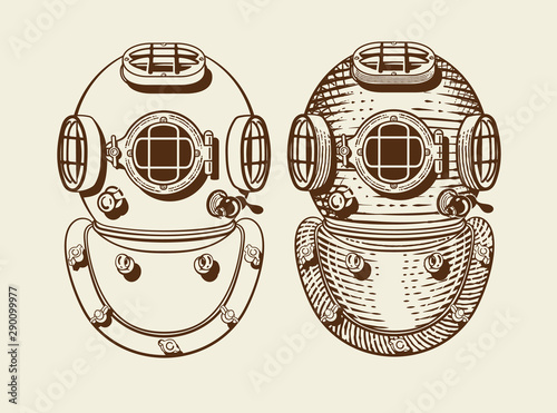 Fotomural Old style diver helmets with and without engraving style