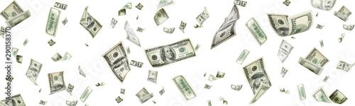 Fotografija Us dollar. American money, falling cash. Flying hundred dollars