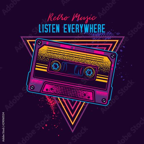 Obraz na plátně Vintage music cassette with magnetic film in neon style