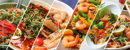 Canvas Print Different tasty Chinese food