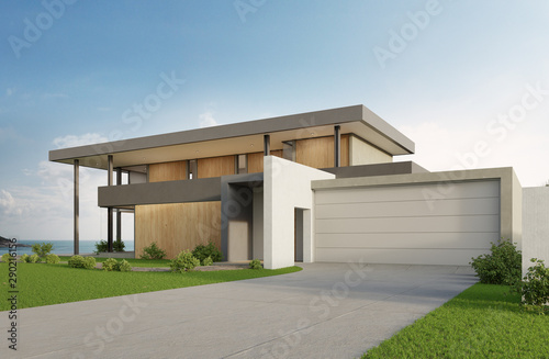Stampa su Tela Luxury beach house with sea view swimming pool and big garage in modern design