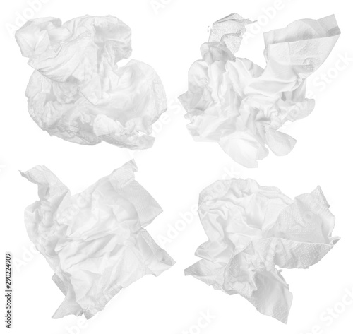 Leinwand Poster crumpled paper napkin isolated on white background