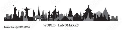 Photo World Skyline Landmarks in Black and White Silhouette