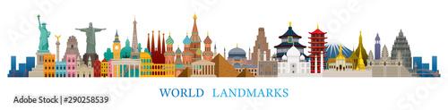 World Skyline Landmarks in Flat Design Style Fototapeta