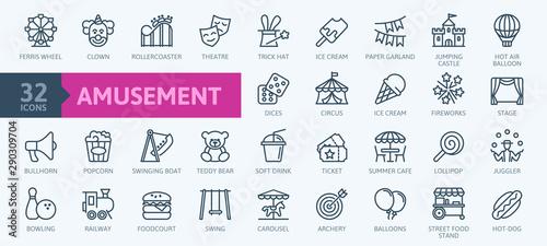 Foto Amusement Park minimal thin line web icon set