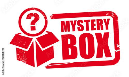 Obraz na płótnie mystery box rubber stamp template with question mark