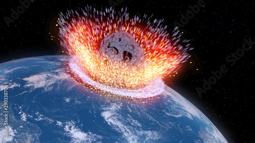 Cuadros en Lienzo 3d rendered illustration of an asteroid impacts earth