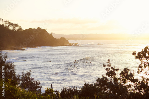 Canvas Print Surfing at dusk