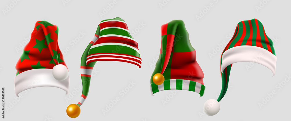 Zimowy zestaw wełnianych czapek elfów. Świąteczne rekwizyty Photo Booth dla dzieci w zieloną i czerwoną czapkę. Czapka Świętego Mikołaja. Ubrania zimowe. Boże Narodzenie 3d realistyczny wektor zestaw ikon <span>plik: #290405563   autor: REIMUSS</span>