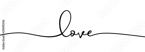 Fotografia Continuous one line drawing of love typography lettering script font typographic lineart design