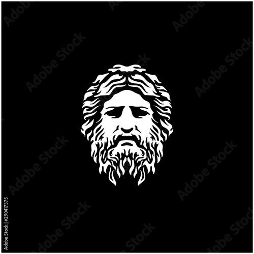 Fotografie, Obraz Ancient Greek God Sculpture Philosopher Face like Zeus Triton Neptune logo desig