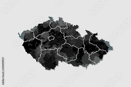 Photo Czech Republic watercolor map vector illustration of black color with border lin