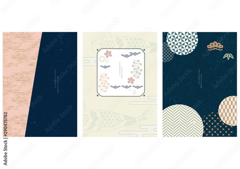 Japoński szablon z geometrycznym wektorem. Tło ryby karp z elementami wiśni, sosny, fali i bambusa. <span>plik: #290475782 | autor: Anko</span>