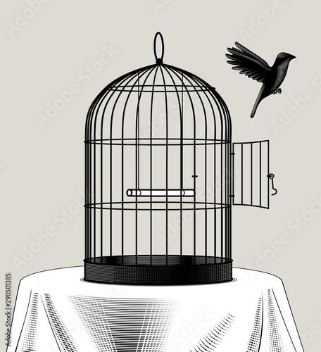 Slika na platnu Bird cage and a black bird flying away