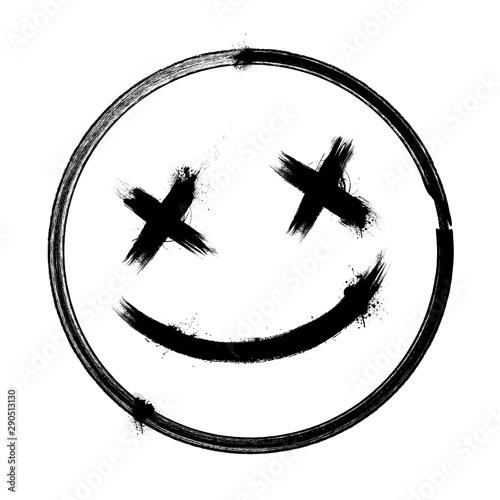 Fototapeta Vector scary hand drawn dead emoji, ink brush dead emoticon smiley icon on a whi