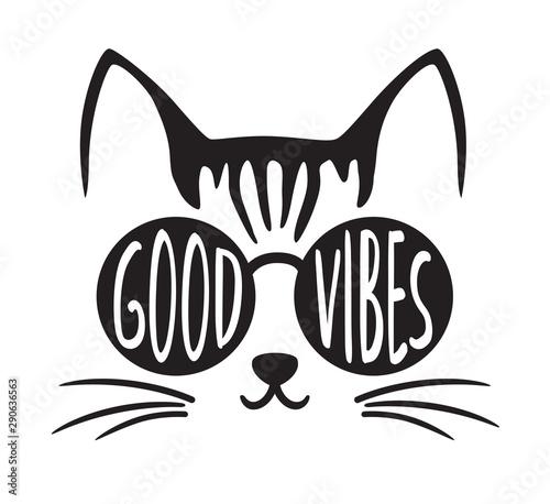 Fototapeta Cute good vibes cat wearing sunglasses vector illustration.