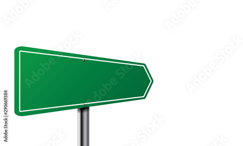 Canvas Print Green empty road sign. Direction Traffic sign board.