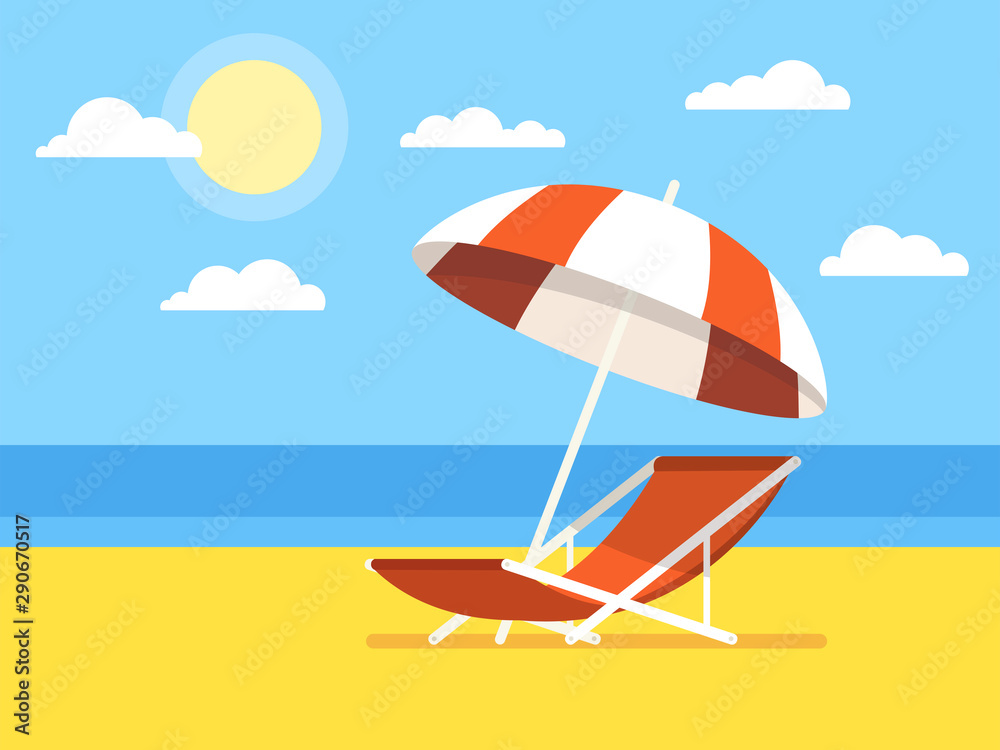 Koncepcja wakacje i podróże. Parasol plażowy, krzesło plażowe. Ilustracji wektorowych. <span>plik: #290670517 | autor: Art Alex</span>