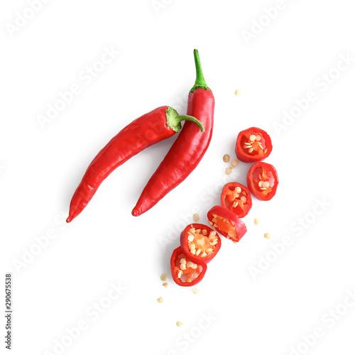 Fotografia Fresh chili peppers on white background