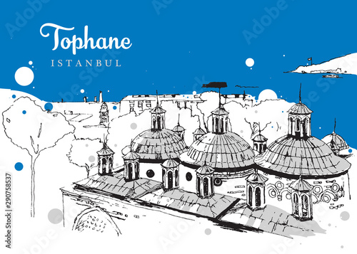 Drawing sketch illustration of Tophane-i Amire Fototapet