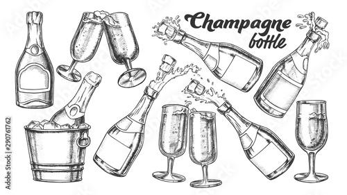 Obraz na płótnie Champagne Bottle And Glass Monochrome Set Vector