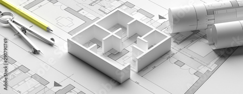 Fotografiet Residential building blueprint plans and house model, banner