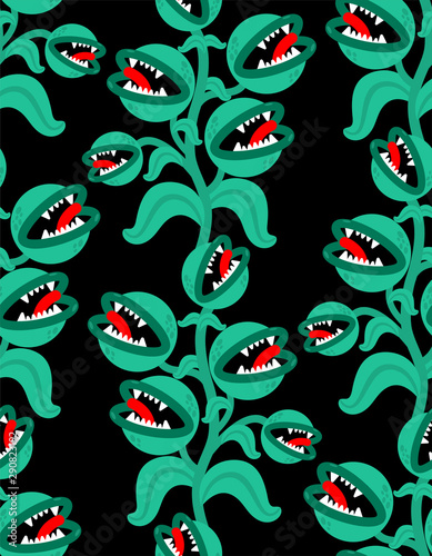 Stampa su Tela Flytrap monster plant pattern seamless
