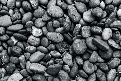 Black and white pebble stone background Fototapeta
