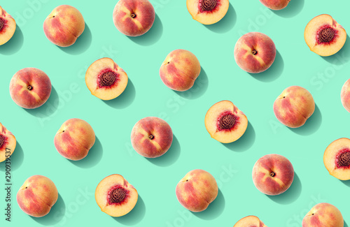 Photo Colorful fruit pattern of fresh peaches