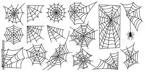 Obraz na plátně Set of web silhouettes