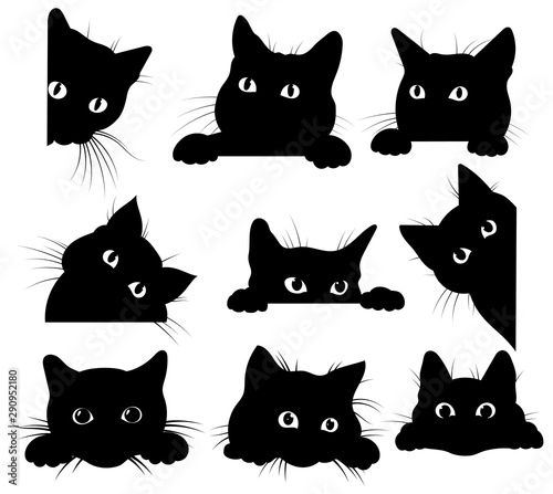 Stampa su Tela Set of black cats looking out of the corner