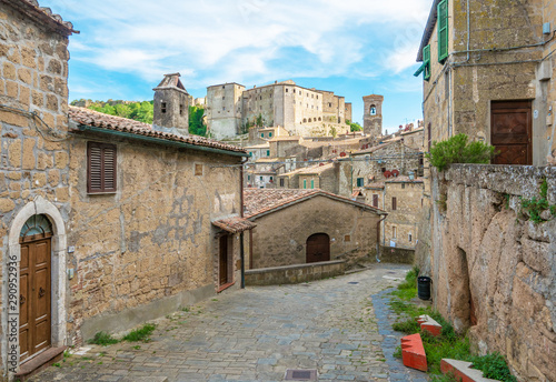 Wallpaper Mural Sorano (Italy) - An ancient medieval hill town hanging from a tuff stone in province of Grosseto, Tuscany region, know as the Little Matera