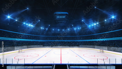 Photo Grand ice hockey rink and illuminated indoor arena with fans, tribune side view,