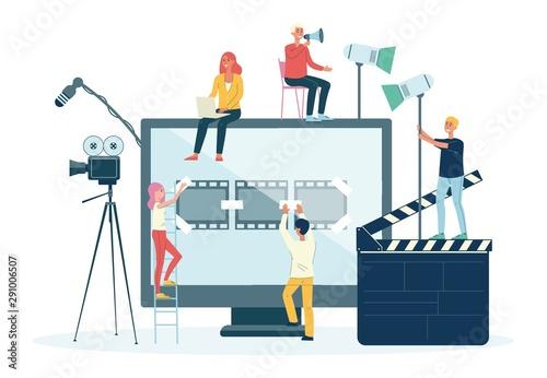 Slika na platnu Movie films and video production crew people flat vector illustration isolated
