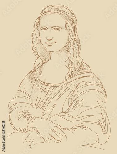 Fototapeta Leonardo da Vinci Mona Lisa portrait vector illustration