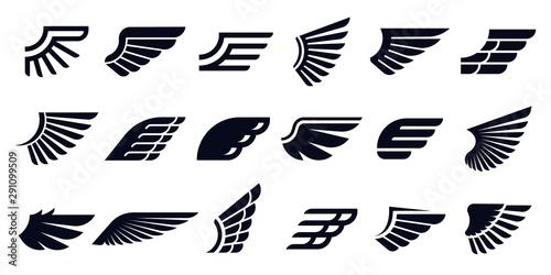 Obraz na płótnie Silhouette wing icons