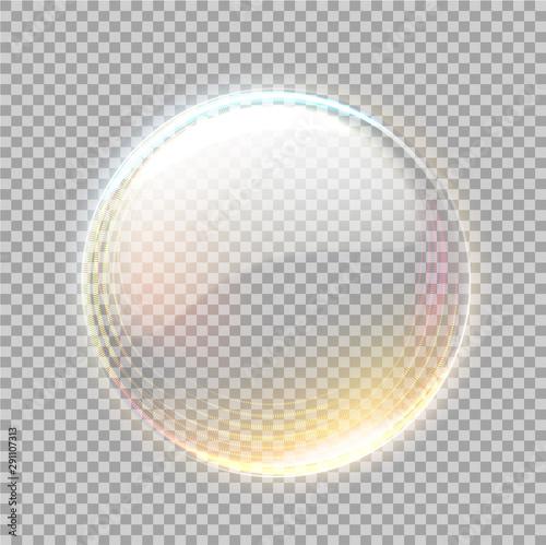 Photo Vector 3d transparent sphere with golden blick