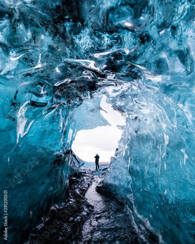 Obraz na plátně Inside a glacier ice cave in Iceland